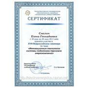 Сертификат за участие в семинаре «Инновационные технологии системы подготовки персонала энергокомпаний» Астрахань 2011