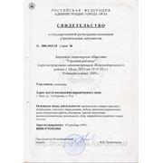 Свидетельство о гос. регистрации и разрешенных видах деят.