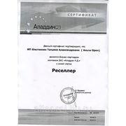 """Сертификат бизнес-партнера  ЗАО """"Аладдин Р.Д."""""""