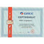 Сертификат субдилера Gree.