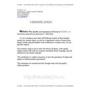 Сертификат на продукцию итальянской фабрики Fadex. Дверные ручки и аксессуары серии Melodia. Итальянская фабрика дверной фурнитуры FADEX основана в 1965 году в Ломбардии