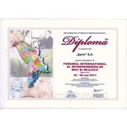 Диплом за участие в интернациональном форуме малых и средних предприятий в 2011 году