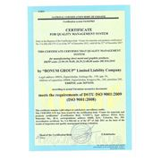 ISO 9001:2009 (ISO 9001:2008) SERTIFICATE FOR QUALITY MANAGEMENT SYSTEM