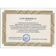 Сертификат Официального  Партнера Компании  «БухСофт сервис»