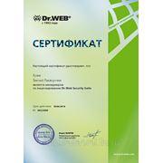 Сертификат менеджера по лицензированию Dr. Web Desktop Security Suite.