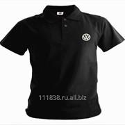 Рубашка поло Volkswagen черная вышивка белая фото