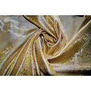 """Китайский шелк (костюмный) золотой """" Листья"""" (ширина 90 см) фото"""