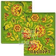 Обложка для паспорта Цветы зеленый фон Артикул: 036004обл003 фото