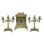 Часы Ларец каминные, 2 канделябра на 3 свечи фото