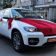 Белая BMW X6 на заказ. Оформление машины свадьба фото