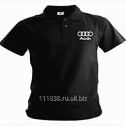 Рубашка поло Audi черная вышивка белая фото