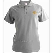 Рубашка поло Hyundai серая вышивка золото фото