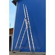 Лестницы трехсекционные универсальные алюминиевые фото