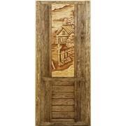 Дверь состаренная с панно для бани и сауны из липы фото