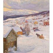 "Картина ""Зимний вечер в деревне"" холст масло р.60х70см, Картины на заказ фото"