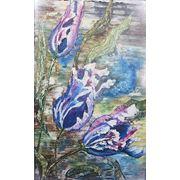 Картина маслом синие тюльпаны фото