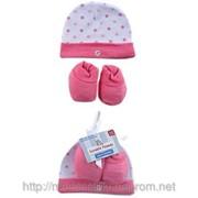 Набор для девочки шапочка и пинетки фото