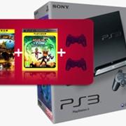 Приставка игровая Playstation 3 SLIM 320GB Pal(2 рег.)2 джойстика+игра Ratchet & Clank A Crack in Time + игра MotorStorm: Pacific Rift фото