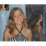 Девушка у зеркала, портрет с фотографии, портрет на заказ маслом с фото, заказ портрета