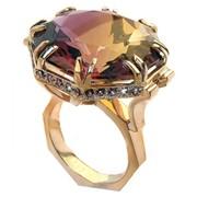 Золотое кольцо Искушение красотой с аметрином и аметистами фото