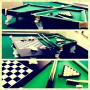 Детская настольная игра (бильярд+шашки+шахматы+нарды) фото