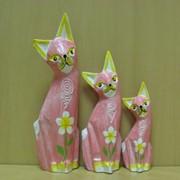 Набор 3х котов Чучело Мяучело-светло-коричневые с узором-плоские, арт. 981132/2 фото