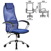 "Кресло для руководителя Metta ""BK-8CH"", ткань-сетка, хром, красное фото"