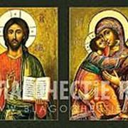 Мастерская копий икон Венчальные иконы (пара): Господь Вседержитель - Владимирская Богородица, копии старинных икон на иконной доске (ручная работа) фото