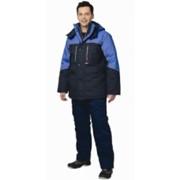 Куртка Вега длинная, синяя с васильковым фото