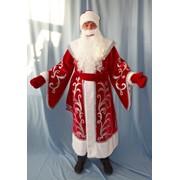 Костюм Дед Мороз Нижегородский (бархат, аппликация) красный фото