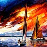 Картина стразами Регата на закате Л.Афремов - 40х50 см фото