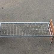 Кровать металлическая одноярусная спинки ЛДСП сетка с ячейкой 50*50 фото