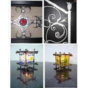 Кованые изделия с использованием цветного стекла. фото