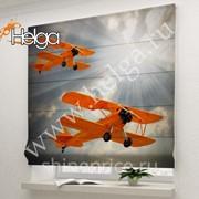 Оранжевые самолеты арт.ТФР3001 римская фотоштора (Габардин 1v 60x160 ТФР) фото