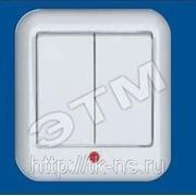 Выключатель ПРИМА нар. 2кл. с индик. (250В, 6А) белый фото
