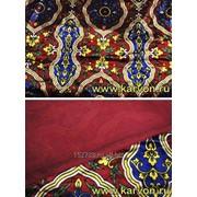 Ткань бархат (плюш) узбекский цветной (с синим) фото