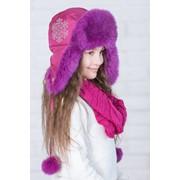 Детская шапка с натуральным мехом кролика в расцветках. ИТ-4-1018 фото