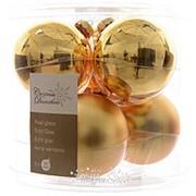 Набор стеклянных шаров, 80 мм, 6 шт, золото mix (Kaemingk) фото