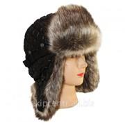 Стеганая шапка ушанка для юноши, мех Енот финский NEW фото