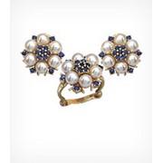 Кольцо и серьги с жемчугом и сапфирами, модель Зимний сад Золото 585, арт. 1297 фото