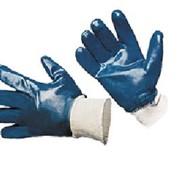 Перчатки нитриловые манжет трикотажный, полный облив фото