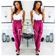 Женские брюки с лампасами и поясом в расцветках. ЛБ-17-0918 фото