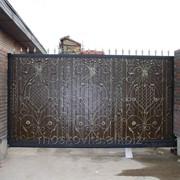 Ворота кованые откатные 9 фото