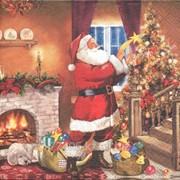 Салфетка для декупажа Дедушка Мороз и ёлка фото