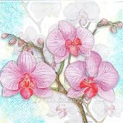 Салфетка для декупажа Три орхидеи голубые фото