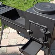 Мангал-печь под казан с откидывающейся крышкой-столиком фото