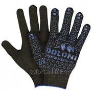 Перчатки хб с ПВХ, 10 класс, 55 гр, Doloni Универсал, арт. 667 (черно-синие), арт. 5555 фото