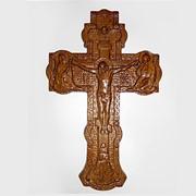 Крест резной деревянный (размеры 240х170х20, дерево ясень) фото