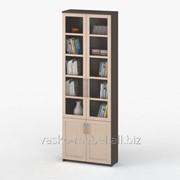 Шкаф книжный, Васко СОЛО 037 Корпус венге, фасад дуб молочный/стекло фото