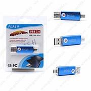 Флешка Flash с двумя USB портами 16GB (micro) Синий фото